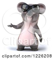 Clipart Of A 3d Koala Mascot Wearing Sunglasses And Presenting Royalty Free Illustration