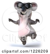 Clipart Of A 3d Koala Mascot Wearing Sunglasses And Jumping Royalty Free Illustration