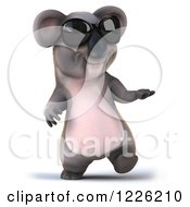 Clipart Of A 3d Koala Mascot Wearing Sunglasses Walking And Presenting Royalty Free Illustration