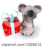 Clipart Of A 3d Koala Mascot Holding Up A Gift Royalty Free Illustration