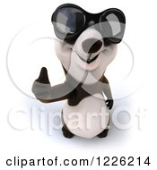 Clipart Of A 3d Panda Wearing Sunglasses And Holding A Thumb Up Royalty Free Illustration