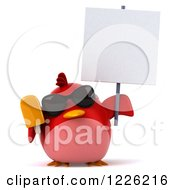 3d Chubby Red Bird Wearing Sunglasses And Holding A Sign And Popsicle