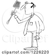 Clipart Of An Outlined Businessman Holding A Noose Fly Swatter Royalty Free Vector Illustration by Dennis Cox