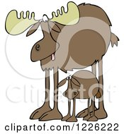 Clipart Of A Mother Moose And Calf Royalty Free Vector Illustration