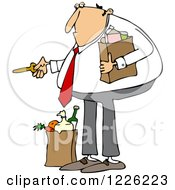 Clipart Of A Caucasian Man With Groceries Unlocking A Door Royalty Free Vector Illustration by djart