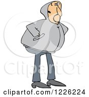 Clipart Of A Caucasian Man Wearing A Hoody Sweater Royalty Free Vector Illustration
