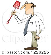 Clipart Of A Caucasian Businessman Holding A Noose Fly Swatter Royalty Free Vector Illustration