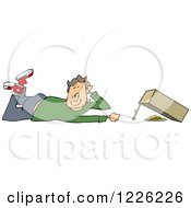 Clipart Of A Caucasian Boy Setting A Box Trap Royalty Free Vector Illustration