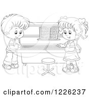 Clipart Of An Outlined Boy And Girl At A Piano Royalty Free Vector Illustration by Alex Bannykh