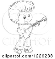 Outlined Boy Playing A Balalaika Guitar