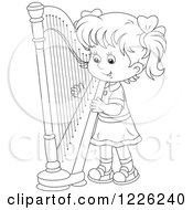 Outlined Girl Playing A Harp