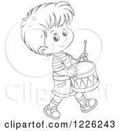 Outlined Boy Drummer