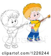Outlined And Colored Boy Playing A Balalaika Guitar