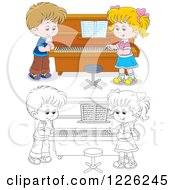 Clipart Of An Outlined And Colored Boy And Girl At A Piano Royalty Free Vector Illustration by Alex Bannykh