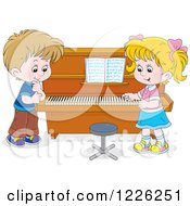 Clipart Of A Caucasian Boy And Girl At A Piano Royalty Free Vector Illustration by Alex Bannykh