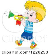 Clipart Of A Caucasian Marching Boy Playing A Trumpet Royalty Free Vector Illustration