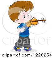 Clipart Of A Caucasian Boy Violinist Royalty Free Vector Illustration