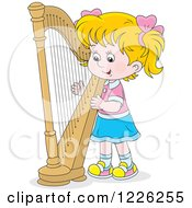 Clipart Of A Caucasian Girl Playing A Harp Royalty Free Vector Illustration