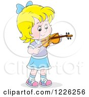 Clipart Of A Caucasian Girl Violinist Royalty Free Vector Illustration
