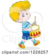 Clipart Of A Caucasian Boy Drummer Royalty Free Vector Illustration by Alex Bannykh