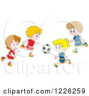 Clipart Of Caucasian Boys And Girls Playing Soccer Royalty Free Vector Illustration by Alex Bannykh