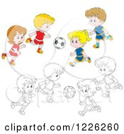 Clipart Of Outlined And Colored Boys And Girls Playing Soccer Royalty Free Vector Illustration