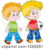 Clipart Of Caucasian Boys Walking With A Soccer Ball Royalty Free Vector Illustration by Alex Bannykh