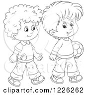 Clipart Of Outlined Boys Walking With A Soccer Ball Royalty Free Vector Illustration by Alex Bannykh