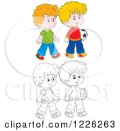 Clipart Of Outlined And Colored Boys Walking With A Soccer Ball Royalty Free Vector Illustration by Alex Bannykh