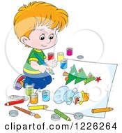 Clipart Of A Caucasian Boy Painting A Snowman And Christmas Tree Royalty Free Vector Illustration by Alex Bannykh