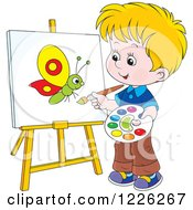 Clipart Of A Caucasian Boy Painting A Butterfly On A Canvas Royalty Free Vector Illustration by Alex Bannykh
