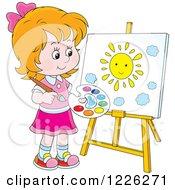 Caucasian Girl Painting A Sun On A Canvas