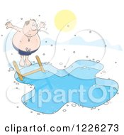 Clipart Of A Chubby Man Jumping Into An Ice Swimming Pool Royalty Free Vector Illustration by Alex Bannykh