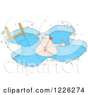 Clipart Of A Chubby Man Wading In An Ice Swimming Pool Royalty Free Vector Illustration