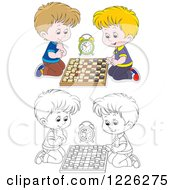 Clipart Of Outlined And Colored Boys Playing Chess Royalty Free Vector Illustration by Alex Bannykh