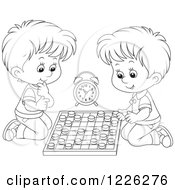 Clipart Of Outlined Boys Playing Chess Royalty Free Vector Illustration