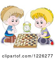 Caucasian Boys Playing Chess