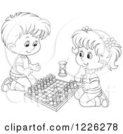 Clipart Of An Outlined Happy Boy And Girl Playing Chess Royalty Free Vector Illustration by Alex Bannykh