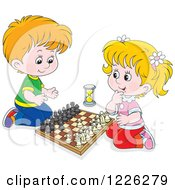 Clipart Of A Happy Caucasian Boy And Girl Playing Chess Royalty Free Vector Illustration by Alex Bannykh