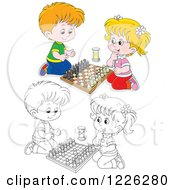 Clipart Of An Outlined And Colored Happy Boy And Girl Playing Chess Royalty Free Vector Illustration by Alex Bannykh