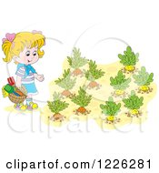 Clipart Of A Blond Girl By A Vegetable Garden Royalty Free Vector Illustration