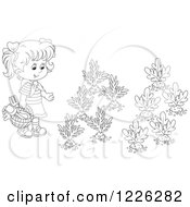 Clipart Of An Outlined Girl By A Vegetable Garden Royalty Free Vector Illustration