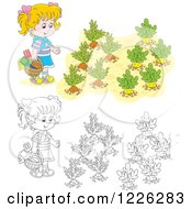 Clipart Of An Outlined And Colored Girl By A Vegetable Garden Royalty Free Vector Illustration
