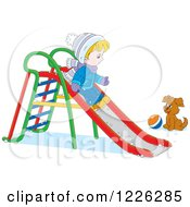 Clipart Of A Puppy Watching A Caucasian Boy Go Down A Slide In The Snow Royalty Free Vector Illustration by Alex Bannykh