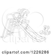 Clipart Of An Outlined Puppy Watching A Boy Go Down A Slide In The Snow Royalty Free Vector Illustration by Alex Bannykh