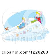 Clipart Of A Puppy Watching Caucasian Children Play On A Sled Snow Slide Royalty Free Vector Illustration