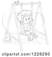 Clipart Of An Outlined Boy Swinging On A Playground Royalty Free Vector Illustration