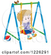 Clipart Of A Caucasian Boy Swinging On A Playground Royalty Free Vector Illustration