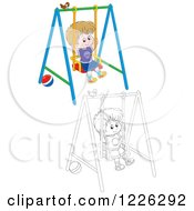 Clipart Of An Outlined And Colored Boy Swinging On A Playground Royalty Free Vector Illustration