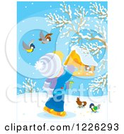 Clipart Of A Blond Boy Feeding Birds At A Suspended Feeder Royalty Free Vector Illustration by Alex Bannykh